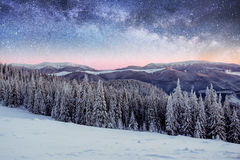 Sternenklarer Himmel in der schneebedeckten Nacht des Winters fantastische Milchstraße im neuen Stockfotos