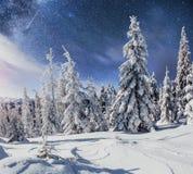 Sternenklarer Himmel in der schneebedeckten Nacht des Winters Fantastische Milchstraße im neues Jahr ` s Eve In Erwartung des Fei Stockfoto