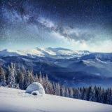Sternenklarer Himmel in der schneebedeckten Nacht des Winters Fantastische Milchstraße im neues Jahr ` s Eve In Erwartung des Fei Stockbilder
