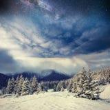 Sternenklarer Himmel in der schneebedeckten Nacht des Winters Karpaten, Ukraine, Europa Stockfotos