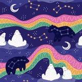 Sternenklarer Himmel des Nordpols Eisbärfamilie, die Nordlichter aufpasst Nette sternenklare Nachtszene Nahtloses Muster Auch im  lizenzfreie stockfotografie