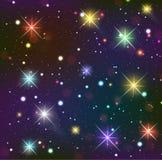 Sternenklarer Himmel. Dunkler Hintergrund mit glühenden Effekten vektor abbildung