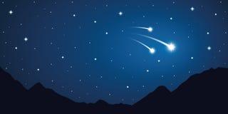 Sternenklarer Himmel mit drei Sternschnuppen in den Bergen vektor abbildung