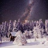 Sternenklarer Himmel und ein Baum im Frost am schönen Haus im Wald in der Mitte des Winters Lizenzfreies Stockbild