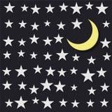 Sternenklarer Himmel und ein sichelförmiger Mond Lizenzfreie Stockfotografie