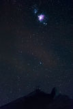 Sternenklarer Himmel und Orion Nebula Lizenzfreies Stockfoto
