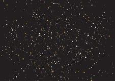 Sternenklarer Hintergrund im Gold und im Schwarzen vektor abbildung