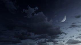 Sternenklarer nächtlicher Himmel mit einem Halbmond lizenzfreie abbildung