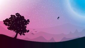 Sternenklarer nächtlicher Himmel und Landschaft lizenzfreie abbildung