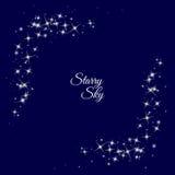 Sternenklarer Rahmen auf dunkelblauem Hintergrund Stockfotos