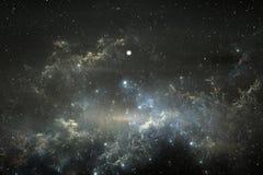 Sternenklarer Raumhintergrund des nächtlichen Himmels mit Nebelfleck Stockbilder