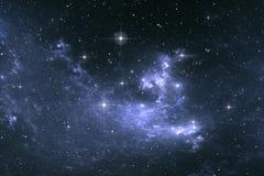 Sternenklarer Raumhintergrund des nächtlichen Himmels mit Nebelfleck Lizenzfreie Stockbilder