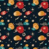 Sternenklares nahtloses Muster, Skizzenplaneten, Kometen und Sterne Lizenzfreie Stockfotografie