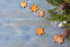 Sternförmige Ingwerplätzchen und -Fichtenzweige mit Kegeln auf blauem hölzernem Hintergrundtextraum lizenzfreie stockfotografie