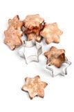 Sternförmige Weihnachtsplätzchen mit einem Formular lizenzfreie stockfotografie