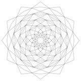 Sternförmiger geometrischer Mustermandalakreisstern Schwarzweiss - mystischer Hintergrund Lizenzfreie Stockfotografie