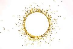 Sternförmiger goldener Pailletterahmen vereinbart im Kreis stockfotografie