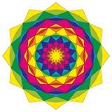 Sternförmiges geometrisches Mustermandalakreisbuntes gefärbt - mystischer Hintergrund Lizenzfreies Stockfoto