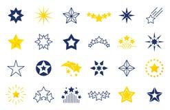 Sternikonen Erstklassige Schwarz- und Entwurfssymbole von Sternformen, vier fünf sechs-spitze Sternaufkleber auf weißem Hintergru lizenzfreie abbildung