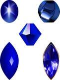Sternsaphir, -perle und -edelstein vector Illustrationen Lizenzfreies Stockfoto