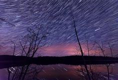 Sternspuren entlang See mit Bäumen Stockfotografie