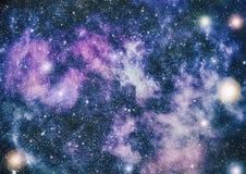 Sternstaub- und -Feenstaubfunkelnraumhintergrund Raumsterne und Planetenbegriffsbild Stockbild