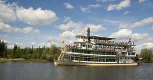 Sternwheeler Riverboat Paddle Steamer Vessel Moves Tourists Down Stock Photo