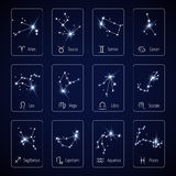 Sternzeichen, das alle Horoskopkonstellation für bewegliche Anwendungsvektorschablone die Hauptrolle spielt Stockbild