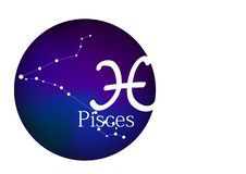Sternzeichen Fische für Horoskop, Konstellation und Symbol im runden Rahmen vektor abbildung