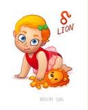 Sternzeichen-Löwe Horoskop-Zeichen-Löwe Baby genießt, ihren Leo Toy zu spielen Stockbild