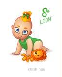 Sternzeichen-Löwe Horoskop-Zeichen-Löwe Baby genießt, ihren Leo Toy zu spielen Lizenzfreies Stockfoto