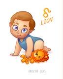 Sternzeichen-Löwe Horoskop-Zeichen-Löwe Baby genießt, seinen Leo Toy zu spielen Lizenzfreie Stockbilder