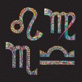 Sternzeichen-Löwe, Jungfrau, Waage, Skorpion Hand gezeichnete Horoskopsymbole Astrologievektorillustration Stockfotografie
