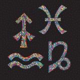 Sternzeichen Schütze, Steinbock, Wassermann, Fische Hand gezeichnete Horoskopsymbole Astrologievektorillustration Stockfotografie