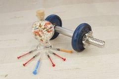 Steroids, muscle-building, dangerous sport Stock Photo