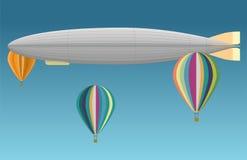 Sterowiec i lotniczy balon Obrazy Royalty Free