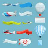 Sterowowie i samoloty z pustymi sztandarami dla reklamowych wiadomości Wektorowe ilustracje z miejscem dla twój teksta ilustracji