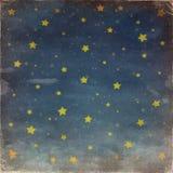 Sterren bij nacht grunge hemel Stock Foto's