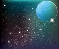 Sterren in de hemel met maan Stock Afbeelding