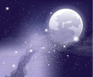 Sterren in de hemel met maan Royalty-vrije Stock Foto