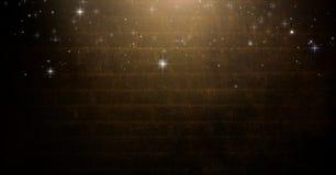 Sterren die over Vignet en licht op bruine bakstenen muurachtergrond vallen stock illustratie