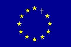 Sterren en kruis op blauwe achtergrond Royalty-vrije Stock Foto