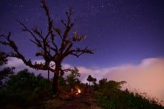 Sterren en mist bij nacht in de bergen Stock Foto