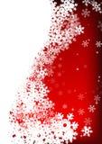 Sterren en sneeuwvlokken op rode achtergrond Royalty-vrije Stock Afbeeldingen