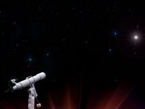 Sterren in nachthemel met telescoop Stock Afbeelding