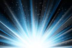 Sterren op blauwe stralen van licht Royalty-vrije Stock Afbeeldingen