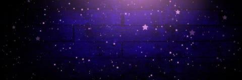 Sterren over Vignet en licht op purpere bakstenen muurachtergrond vector illustratie