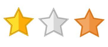 Sterrenpictogram goud, zilver, de vector van bronssterren op witte bac wordt geïsoleerd die Stock Afbeelding
