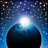 Sterrige achtergrond met aarde Stock Afbeelding
