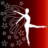 Sterrige dansende vrouw met vleugels stock illustratie
